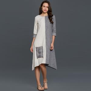 Lovely Gray-White Colored Casual Wear Cotton Jute Kurti