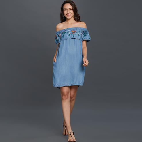 Starring Sky Blue Colored Partywear Embroidered Rayon Western Dress