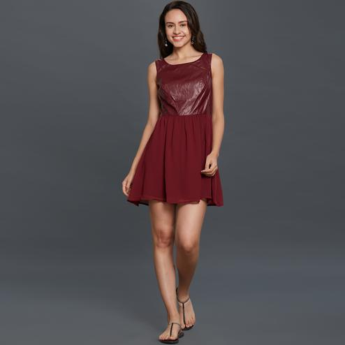 Excellent Maroon Colored Partywear Rayon Western Dress
