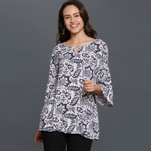 Impressive White Colored Casual Printed Rayon Top