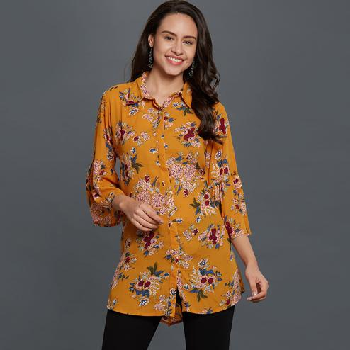 Blissful Mustard Yellow Colored Casual Printed Rayon Top