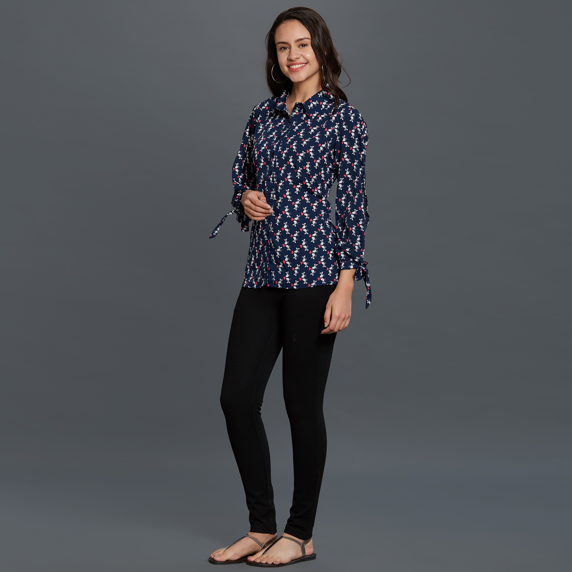 Trendy Navy Blue Colored Casual Printed Rayon Top