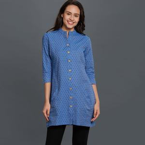Jazzy Blue Colored Casual Wear Embroidered Cotton Short Kurti