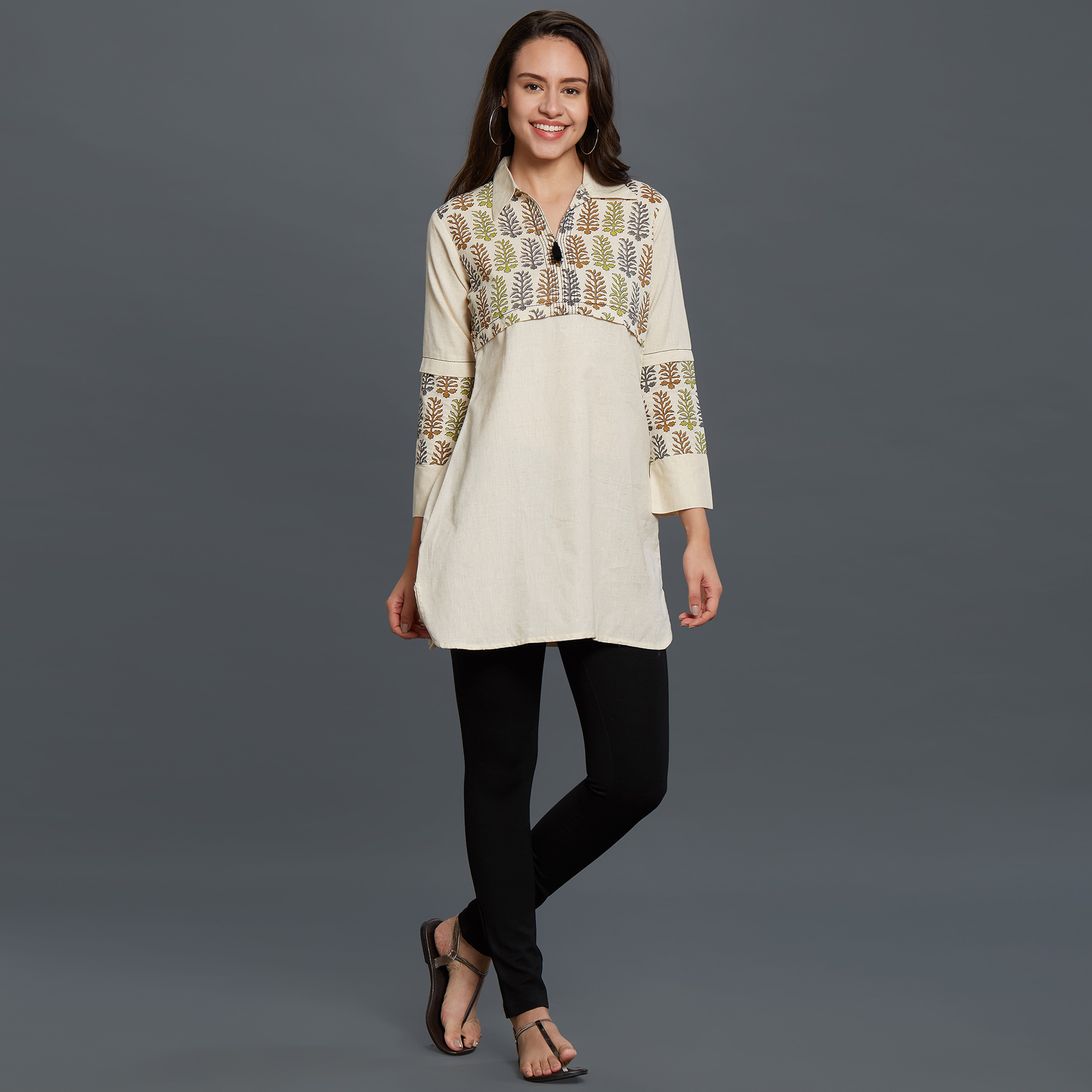 Adorable Off-White Colored Casual Printed Cotton Short Kurti
