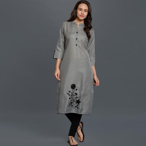 Delightful Gray Colored Casual Wear Embroidered Cotton Kurti