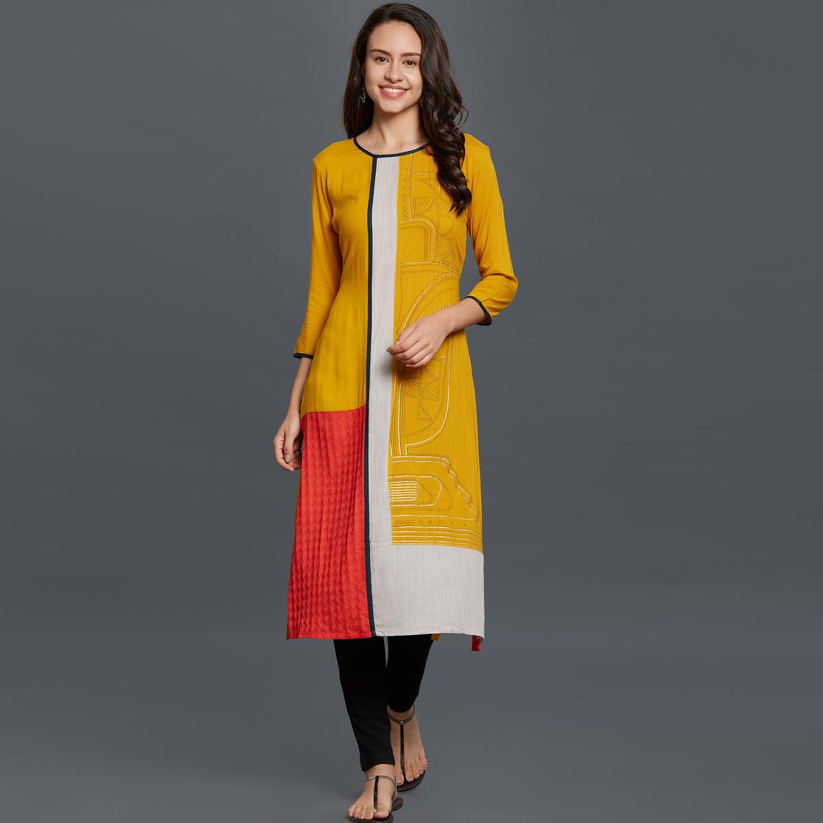 Stunning Yellow Colored Casual Wear Rayon Kurti
