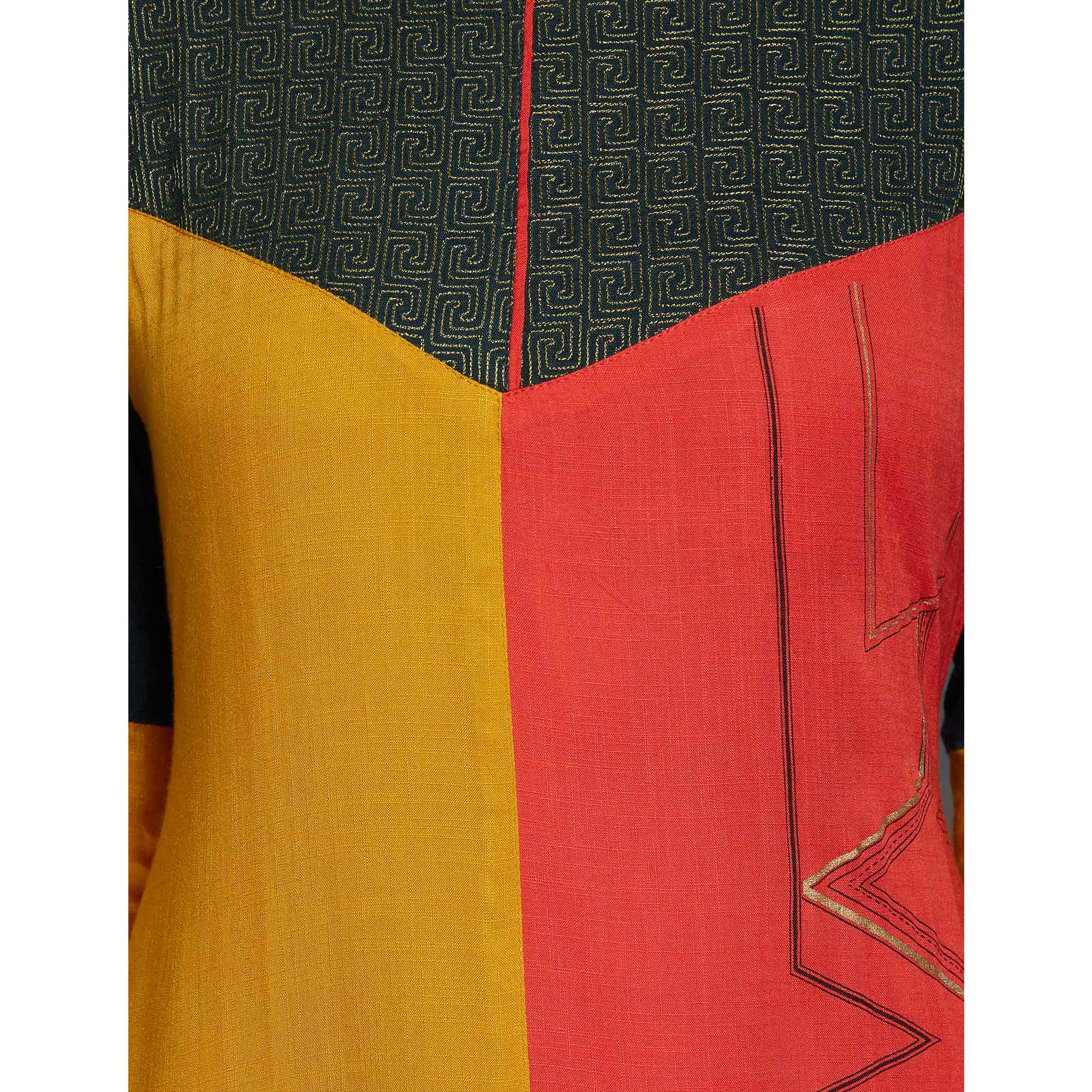 Mesmerising Multi Colored Casual Wear Embroidered Rayon Kurti