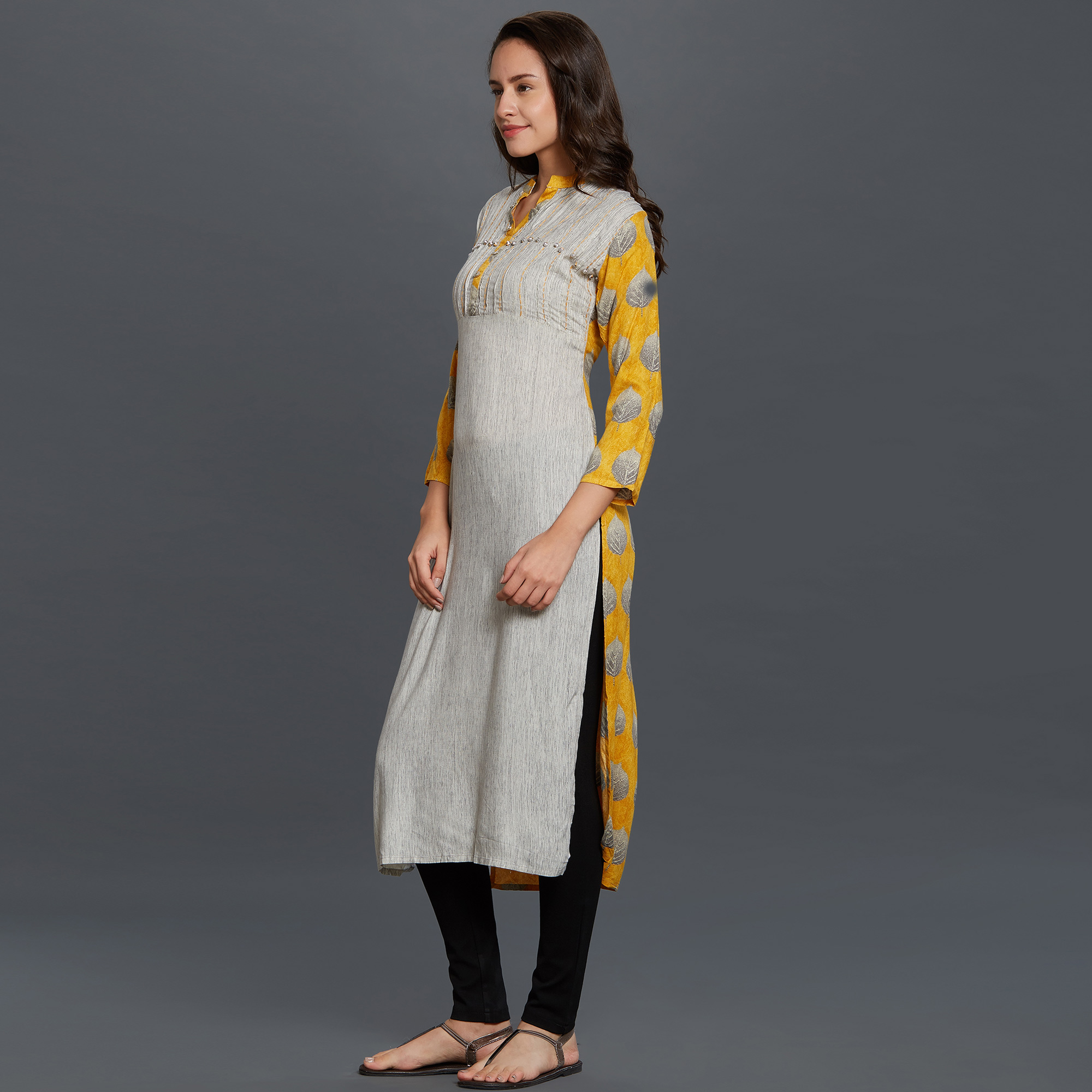 Blooming Gray Colored Casual Printed Long Cotton Kurti