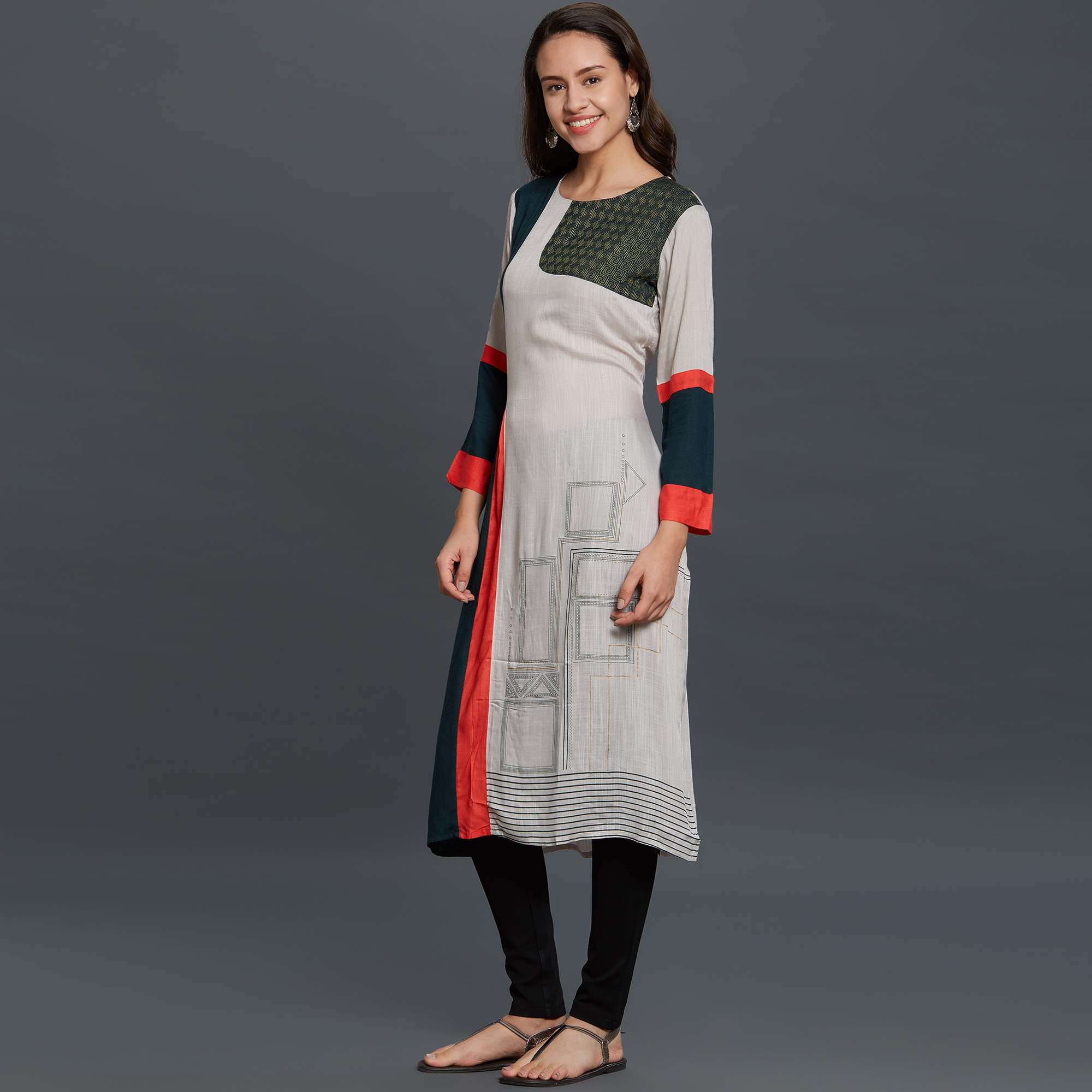 Preferable Gray-Navy Blue Colored Casual Wear Embroidered Cotton Long Kurti