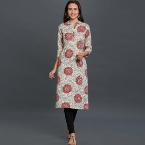 Beautiful Off-White Colored Casual Printed Cotton Kurti