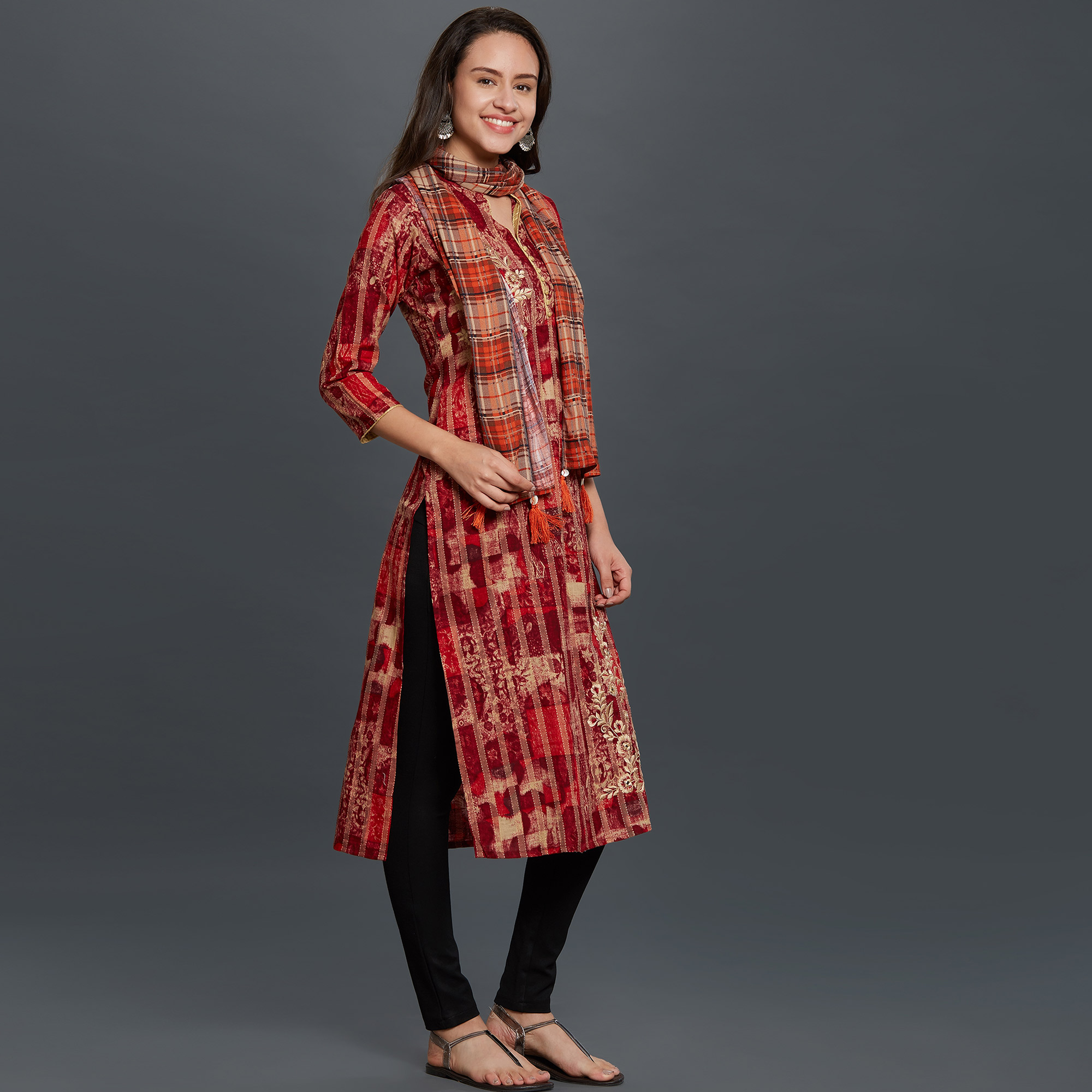 Imposing Red Colored Casual Wear Embroidered Cotton Kurti