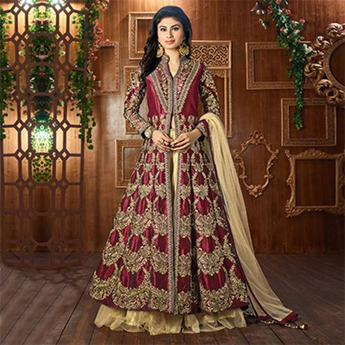 Maroon Heavy Embroidered Work Lehenga Suit