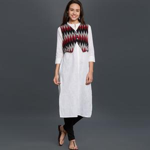 Entrancing White Colored Casual Wear Embroidered Cotton Kurti