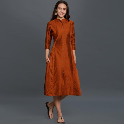 Pleasance Rust Orange Colored Casual Wear Cotton Kurti