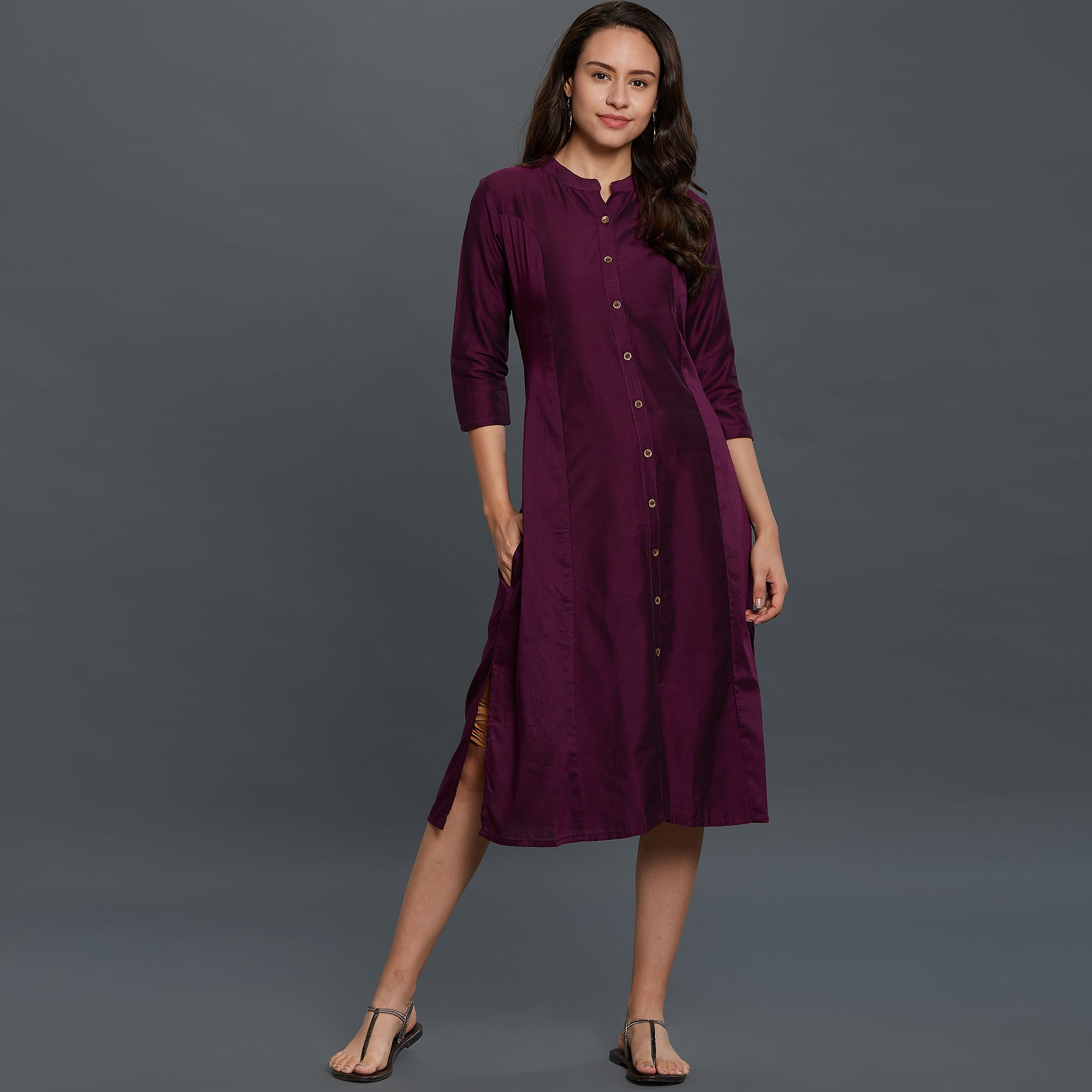 Sophisticated Wine Colored Casual Wear Cotton Kurti