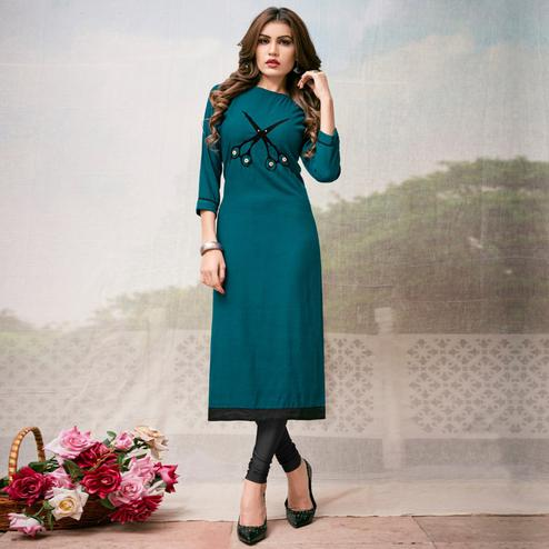 Ravishing Teal Blue Colored Casual Embroidered Rayon Kurti