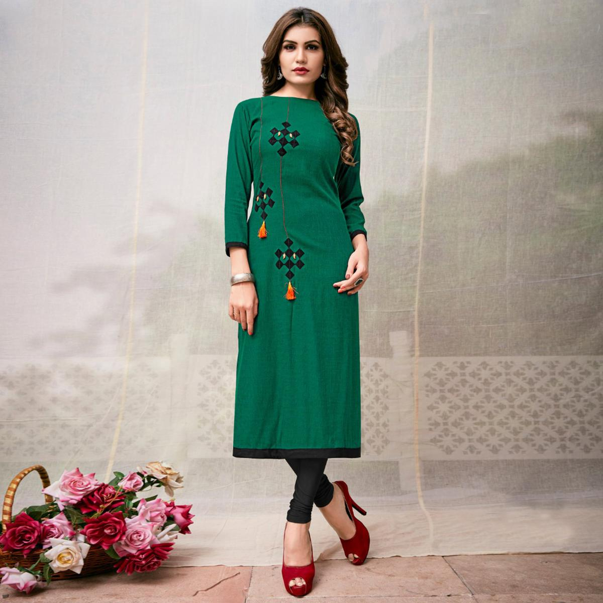 Delightful Green Colored Casual Embroidered Rayon Kurti