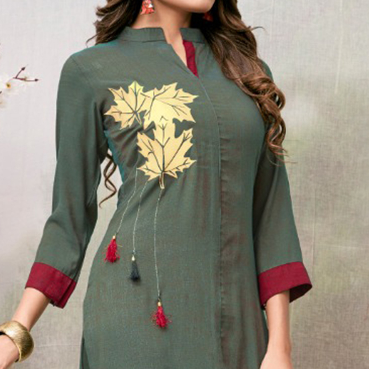 Stunning Greenish Grey Colored Casual Embroidered Rayon Kurti