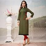 Blooming Olive Green Colored Casual Embroidered Rayon Kurti