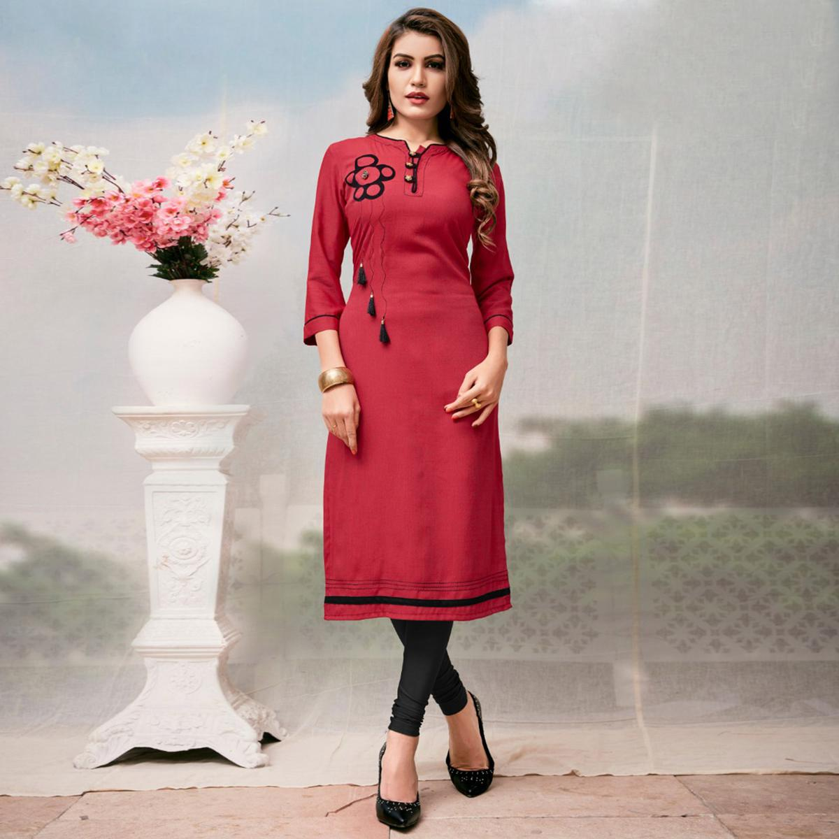 Mesmerising Red Colored Casual Embroidered Rayon Kurti