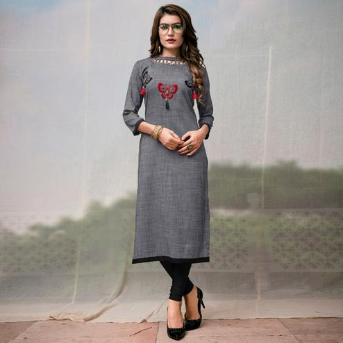 Amazing Grey Colored Casual Embroidered Rayon Kurti