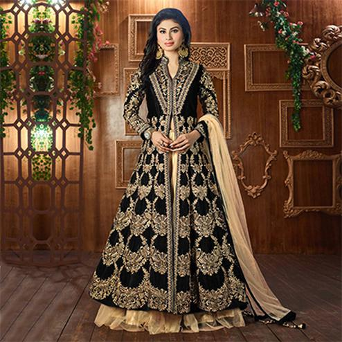 Black Wedding Wear Cotton Silk Lehenga Suit