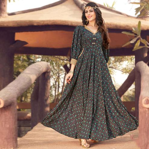 Attractive Black Colored Party Wear Printed Rayon Gown