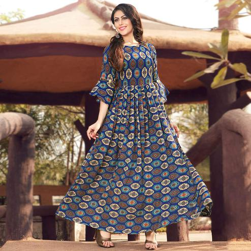 Gorgeous Royal Blue Colored Party Wear Printed Rayon Gown