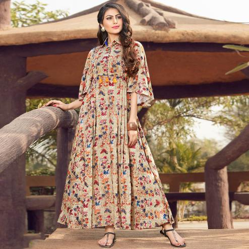 Graceful Beige Colored Party Wear Printed Rayon Gown