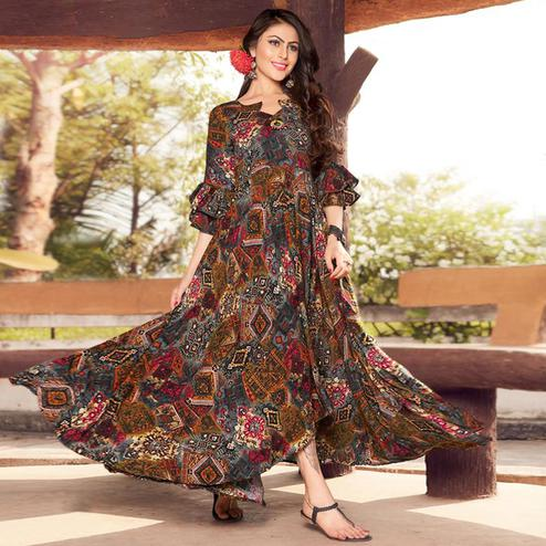 Pretty Multi Colored Party Wear Printed Rayon Gown