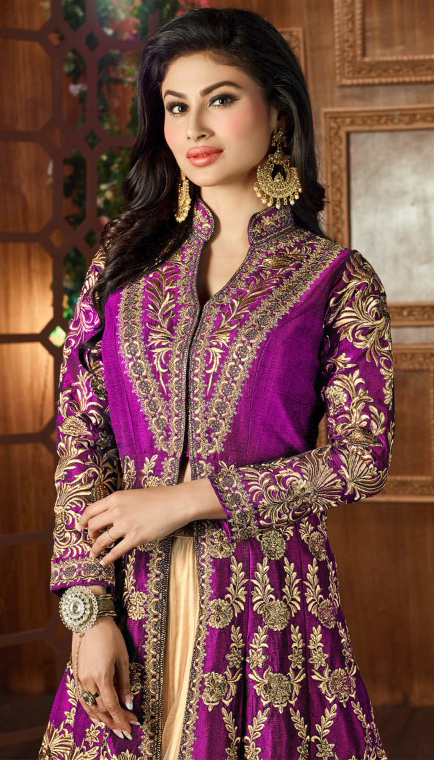 Purple Heavy Embroidered Work Lehenga Suit