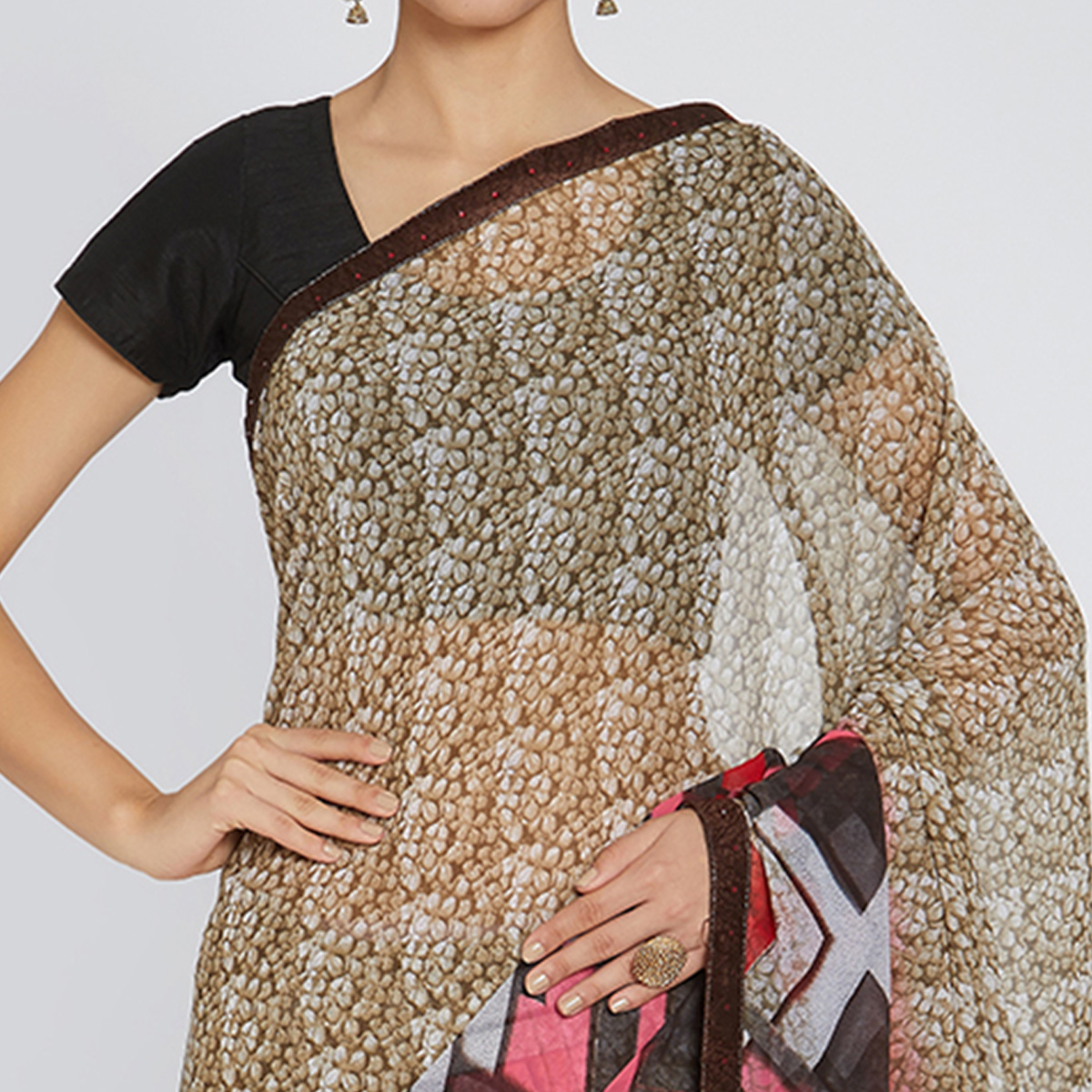 Sophisticated Beige Colored Casual Wear Printed Georgette Saree