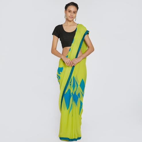 Demanding Green Colored Casual Wear Printed Georgette Saree