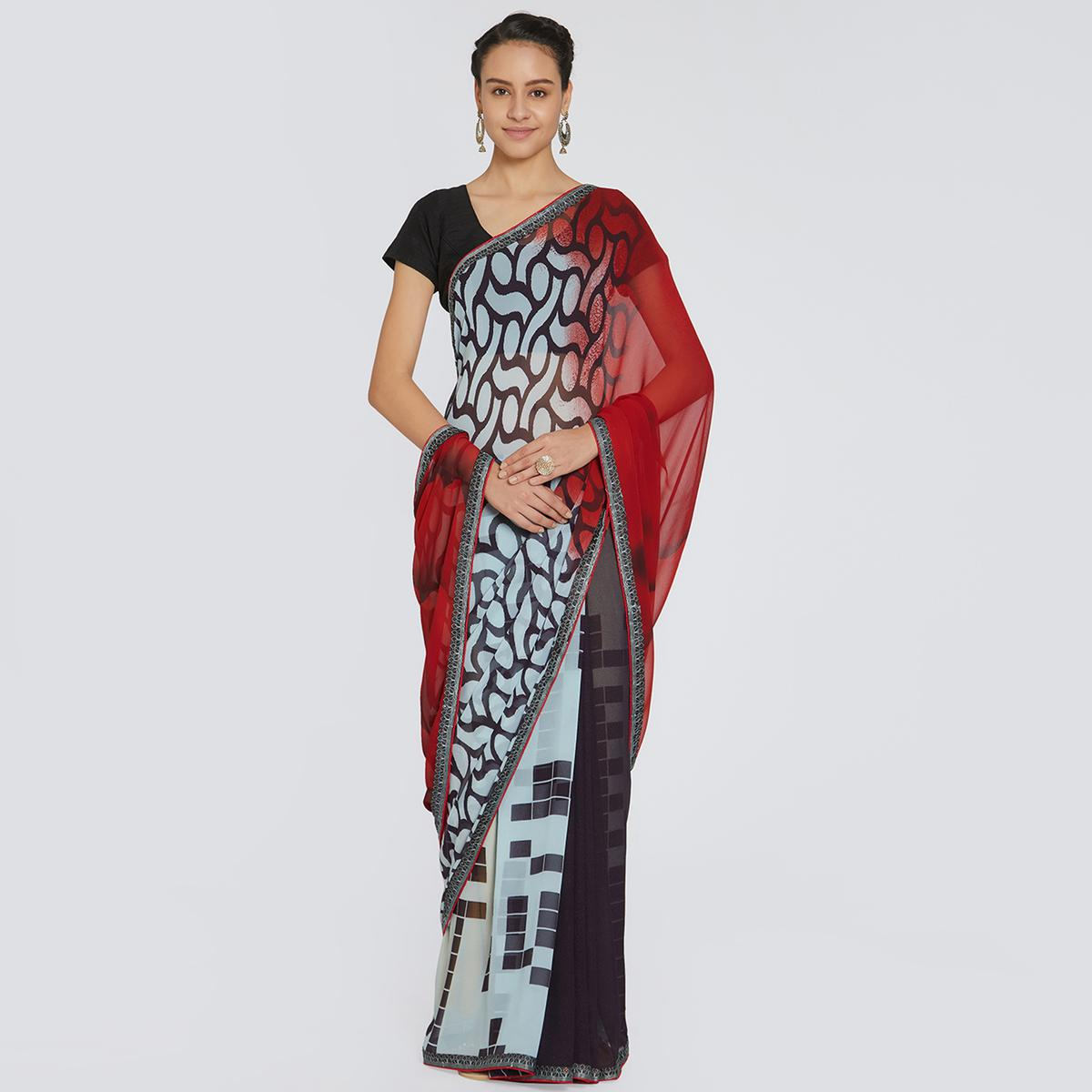 Pleasant Mint Blue - Red Colored Casual Wear Printed Georgette Saree