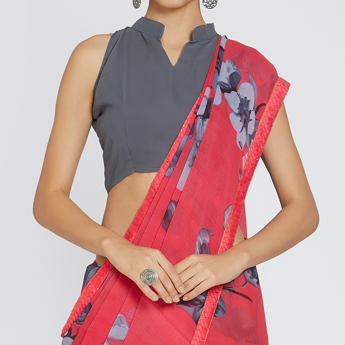Elegant Pink Colored Casual Wear Printed Georgette Saree