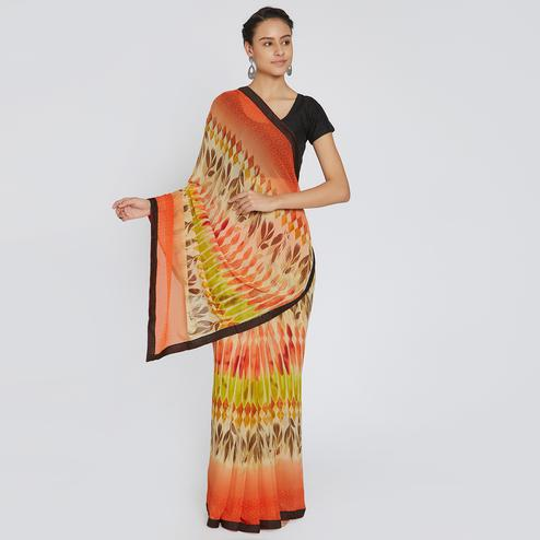 Radiant Multi Colored Casual Wear Printed Georgette Saree