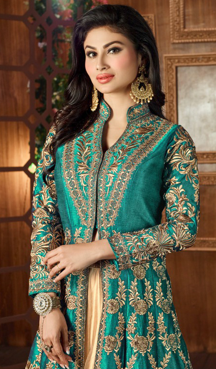 Green Party Wear Cotton Silk Lehenga Kameez