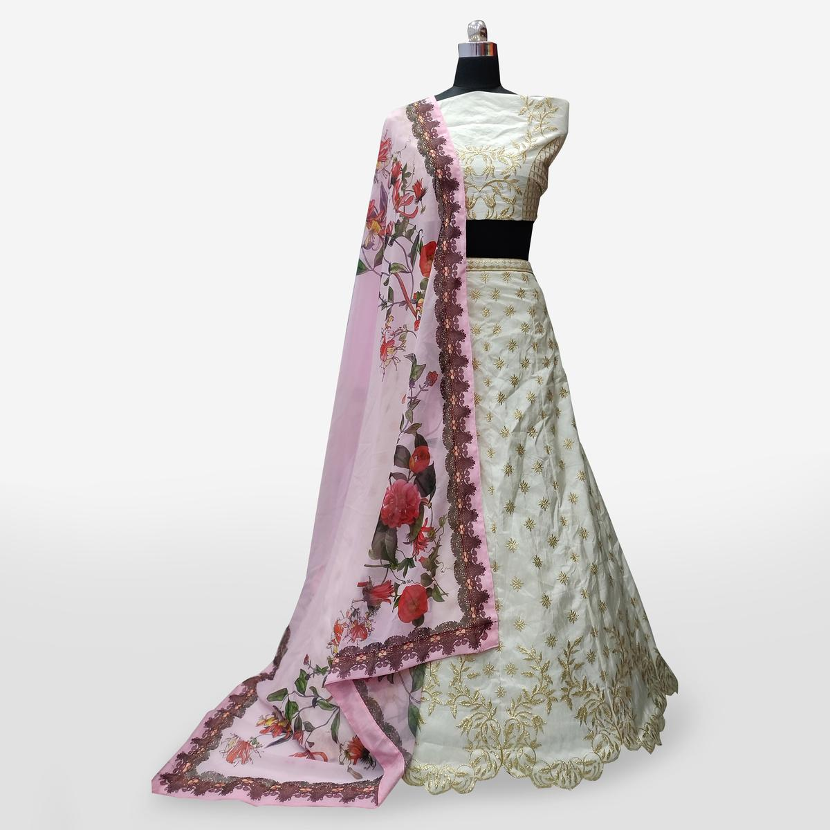 Attractive Off-White Colored Partywear Embroidered Banarasi Silk Lehenga Choli