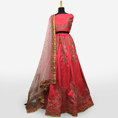 Demanding Pink Colored Partywear Embroidered Mulberry Silk Lehenga Choli
