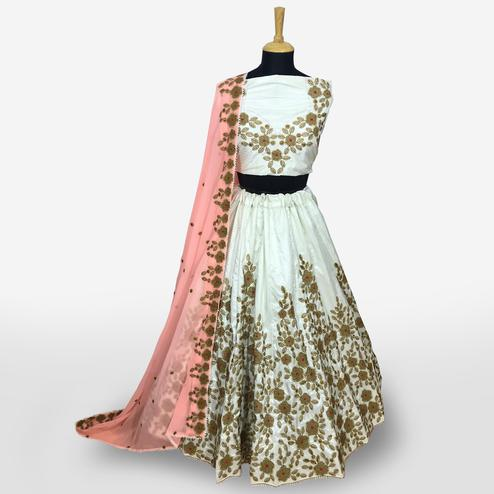 Exceptional Smokey White Colored Partywear Embroidered Banarasi Silk Lehenga Choli