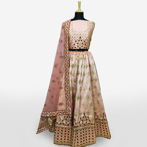 Beautiful Peach Colored Partywear Embroidered Mulberry Silk Lehenga Choli