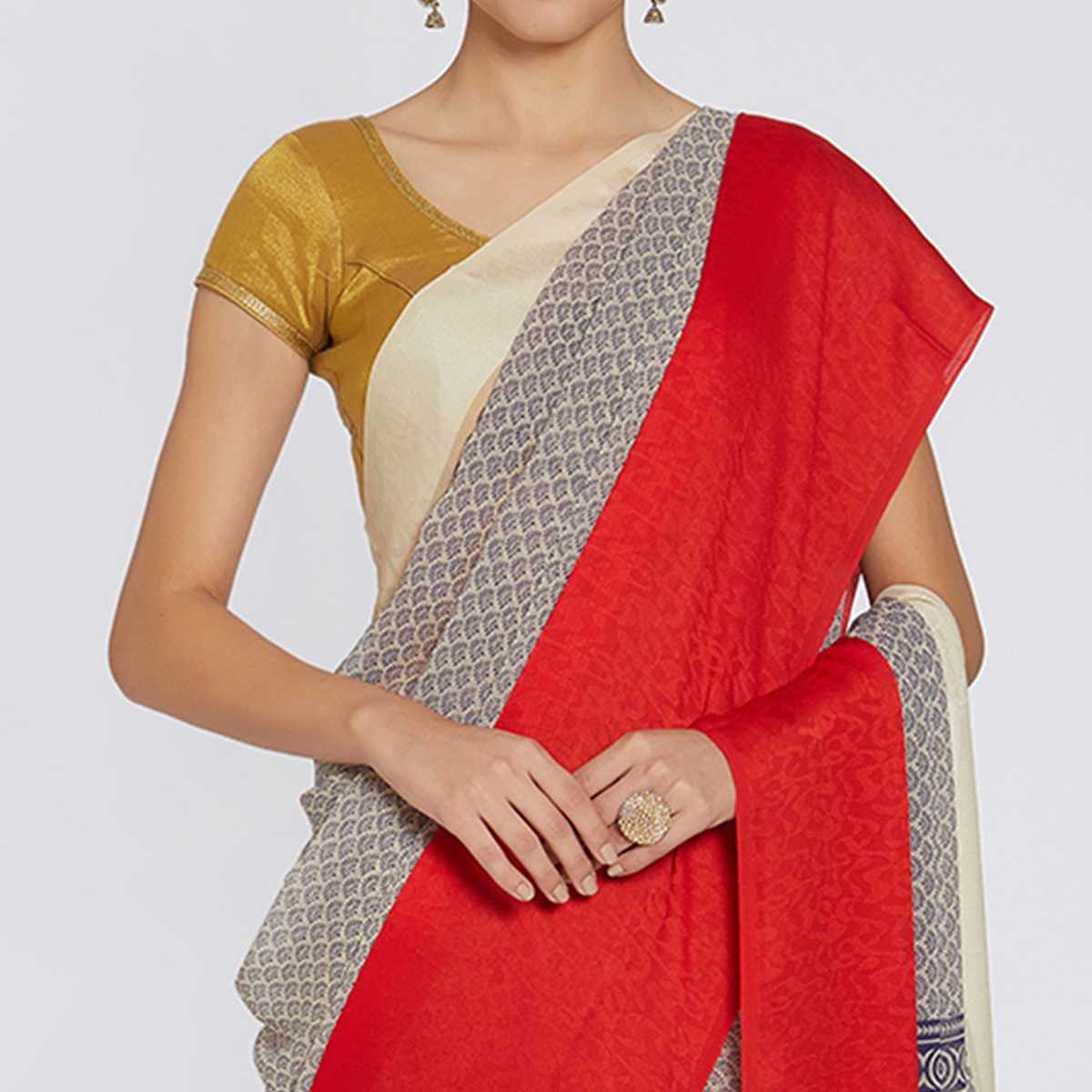 Elegant Red-Blue Colored Casual Printed Georgette Saree