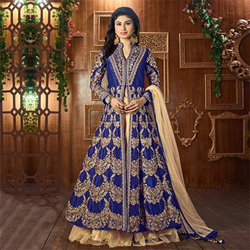 Royal Blue Heavy Embroidered Work Lehenga Kameez