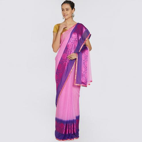 Alluring Violet Colored Casual Printed Georgette Saree