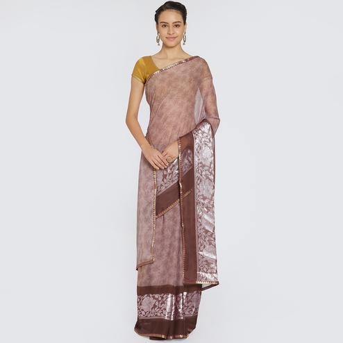 Sensational Light Brown Colored Casual Printed Georgette Saree