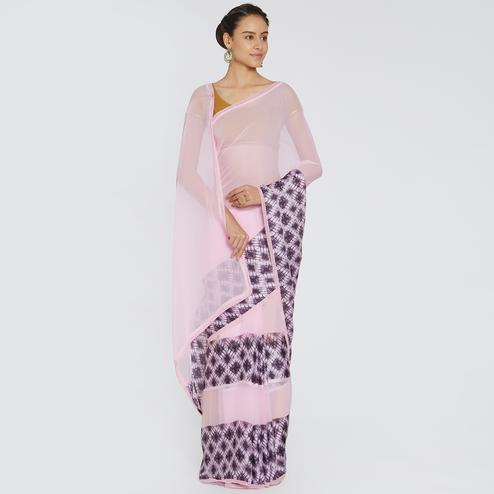 Opulent Soft Pink Colored Casual Printed Georgette Saree