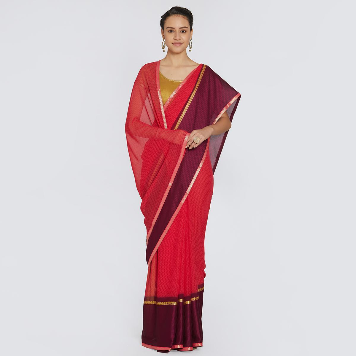 Dazzling Red Colored Casual Printed Georgette Saree