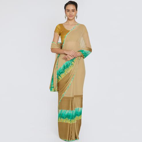 Flattering Beige Colored Casual Printed Georgette Saree