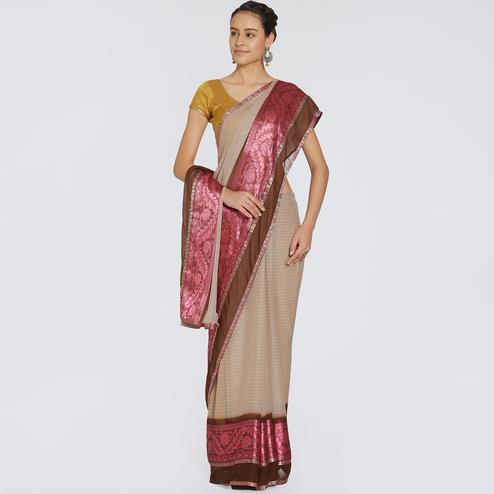 Breathtaking Beige Colored Casual Printed Georgette Saree