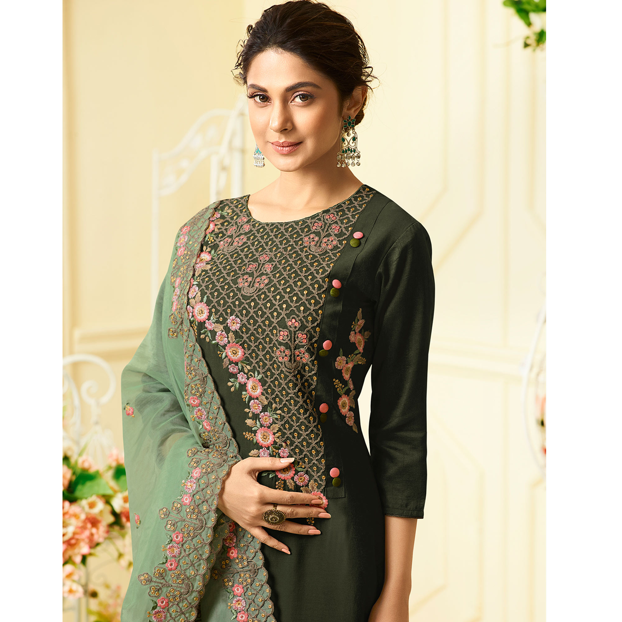 Entrancing Dark Olive Green Colored Party Wear Embroidered Cotton Silk Suit